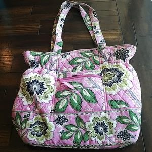 EUC Vera Bradley quilted pink and green floral bag